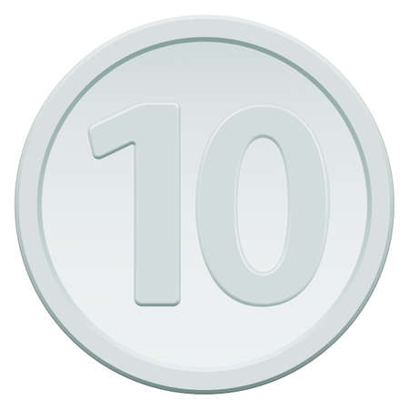 proceeds: Silver coin icon with the symbol of number ten