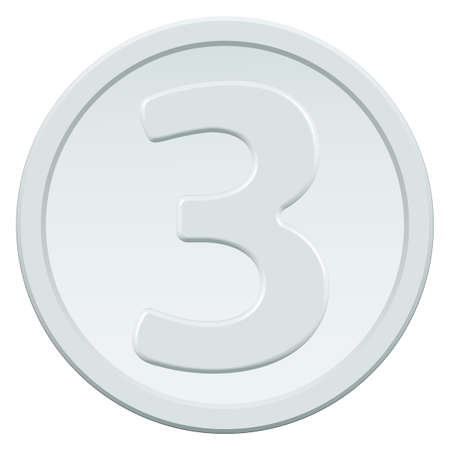 chrome base: Silver coin icon with the symbol of number three