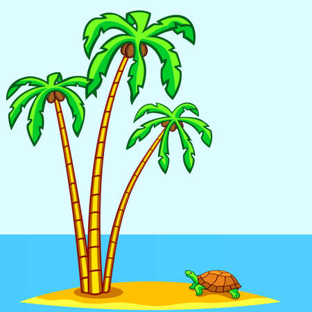 Landscape with the turtle and palms Vector