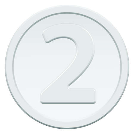 chrome base: Silver coin icon with the symbol of number two Illustration