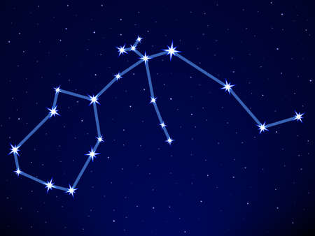 Aquarius constellation on the starry sky Vector