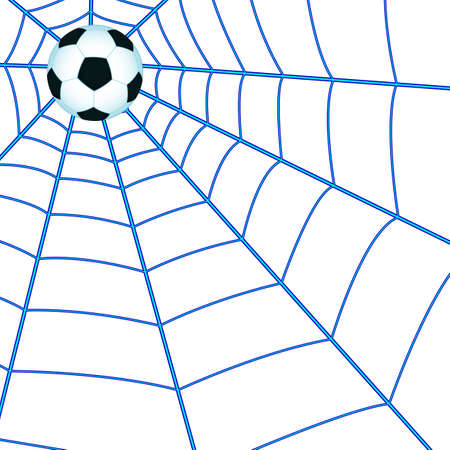 goal cage: Illustration of the soccer ball on the cobweb