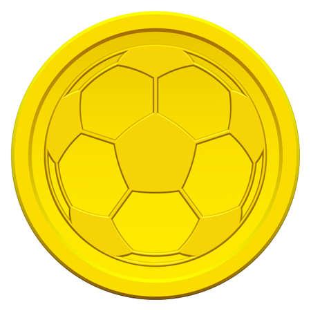 uefa: Goldm�nze Symbol mit dem Symbol f�r Fu�ball Illustration