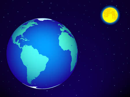 fool moon: Earth and the full moon on the night sky