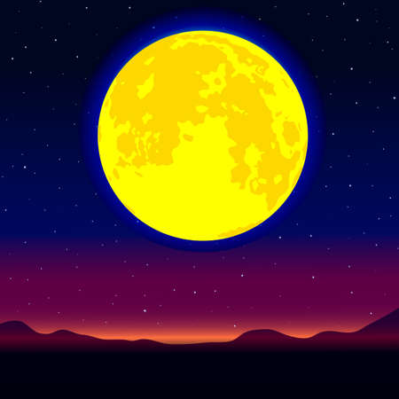 Night landscape with the full moon on starry sky