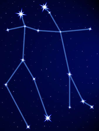 Gemini constellation on the starry sky Vector