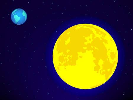 fool moon: Full Moon and Earth on the night sky.