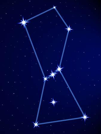 별이 빛나는 하늘에 오리온 별자리