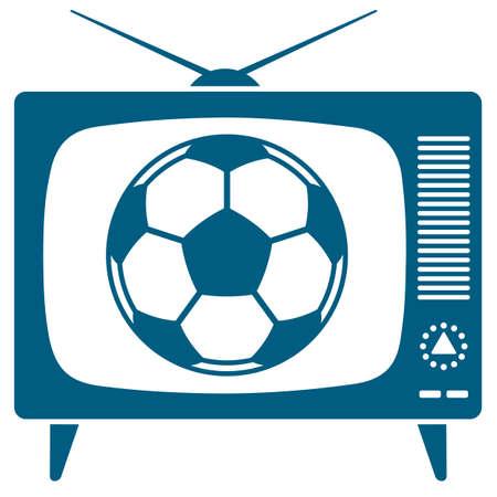 Football  soccerball in the retro TV icon  Vector