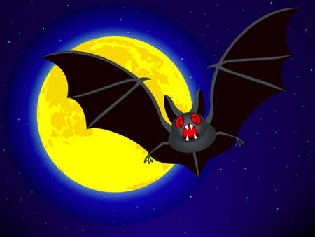 fool moon: Bat on the Full Moon and starry sky background