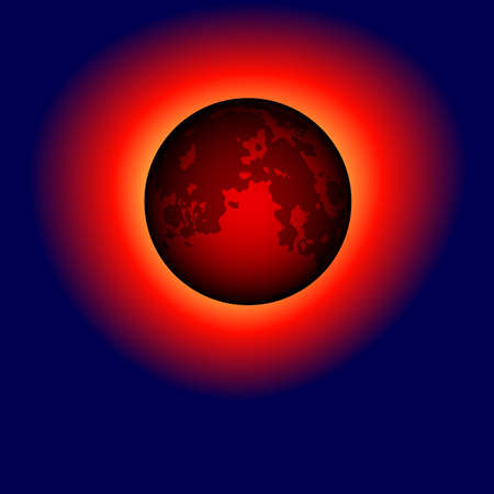 Dark moon with a corona on the sky background