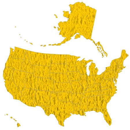 cancellous:  Map of the USA on the abstract textured surface. Illustration