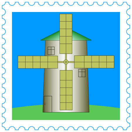 outmoded: Windmill icon on the stamp Illustration