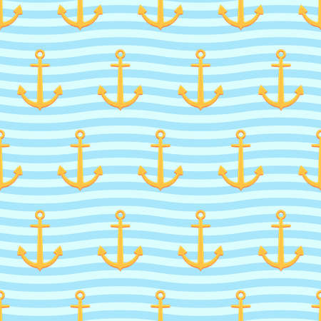 mooring anchor: Seamless pattern of the anchors and sea background Illustration