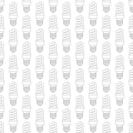 luminescent: Seamless pattern of the contour energy saving luminescent lamps Illustration