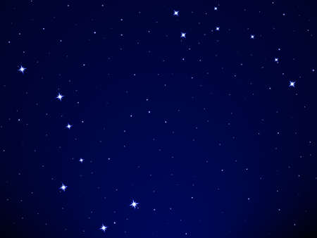 Illustration of the Big Dipper and Little Dipper constellation on starry sky background Illustration