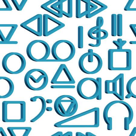 Seamless pattern of the tape recorder symbols Illustration