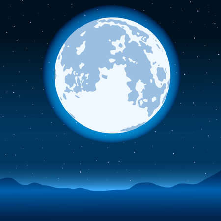gloaming: Night landscape with the blue full moon on starry sky Illustration