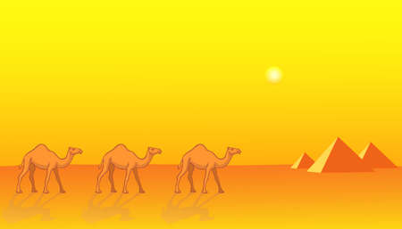 Desert landscape with the camels and pyramids Vector