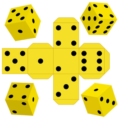 tossing: Illustration of the dice cubes and template Illustration