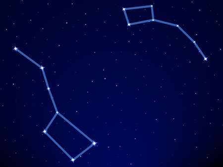 Illustration of the Big Dipper and Little Dipper constellation on starry sky background Ilustracja