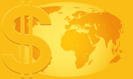 profusion: Concept illustration of the US Dollar symbol and Globe.