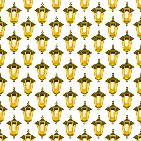 electric torch: Seamless pattern of the street lanterns with energy saving luminescent lamps Illustration