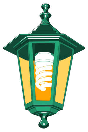 expedient: Illustration of the street lantern with energy saving luminescent  lamp