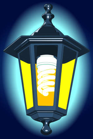 Illustration of the street lantern with energy saving luminescent lamp at night