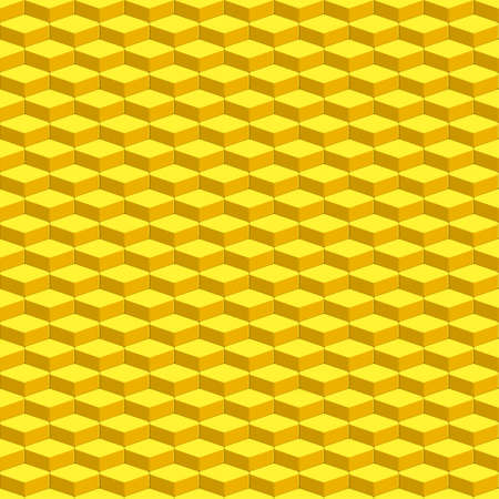 incrustation: Seamless pattern of the abstract yellow parallelepipeds Illustration