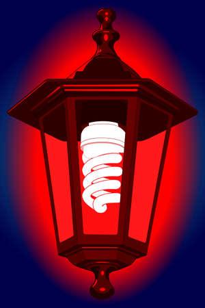 luminescent: Illustration of the red street lantern with energy saving luminescent lamp at night