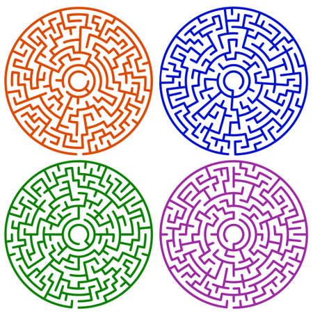 Illustration of the round maze set Vector