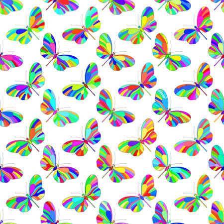 motley: Seamless pattern di farfalle multicolori