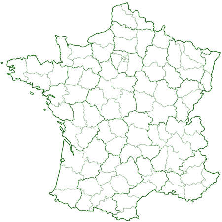 Contour region and department map of the France. All objects are independent and fully editable. Source of map: http://www.lib.utexas.edu/maps/europe/france_admin91.jpg