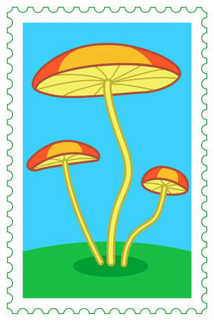 phytology: Illustration of the cartoon mushrooms on postage stamp