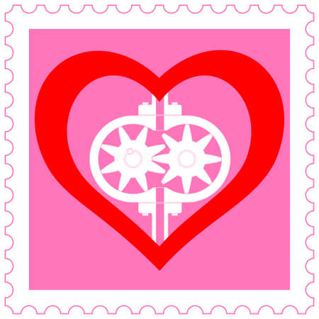pacemaker: Concept heart and pump on stamp