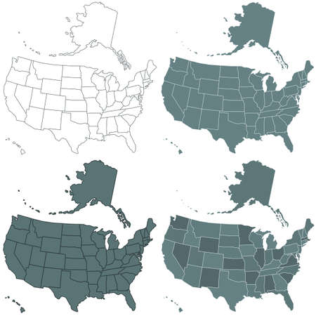 Set of the contour USA maps illustration. All objects are independent and fully editable. Source of map:  http:www.lib.utexas.edumapsunited_statesn.america.jpg