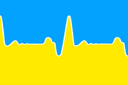 Conceptual cardiogram as a flag of Ukraine