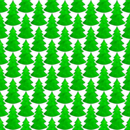 christmas watercolor: Seamless pattern of the evergreen Christmas watercolor trees