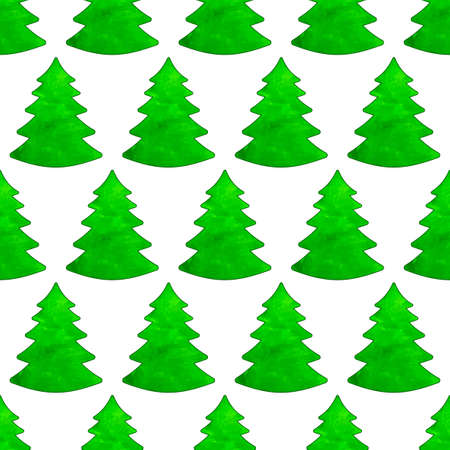 christmas watercolor: Seamless pattern of the Christmas watercolor trees