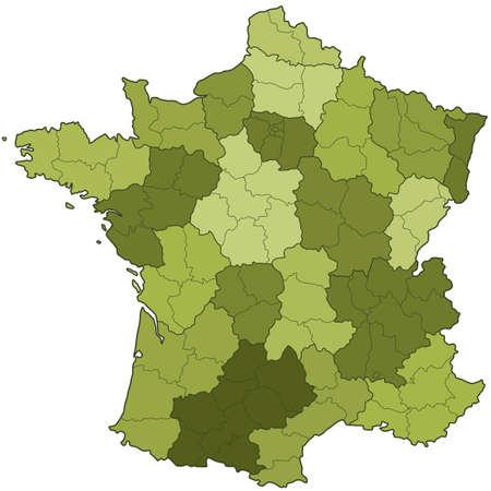 지역 및 부서와 프랑스의 실루엣지도. 모든 개체는 독립적이며 완전히 편집 할 수 있습니다. 지도 출처 : http:www.lib.utexas.edumapseuropefrance_admin91.jpg
