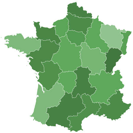 independent: Terrestrial silhouette map of the France with regions. All objects are independent and fully editable. Source of map: http:www.lib.utexas.edumapseuropefrance_admin91.jpg Illustration
