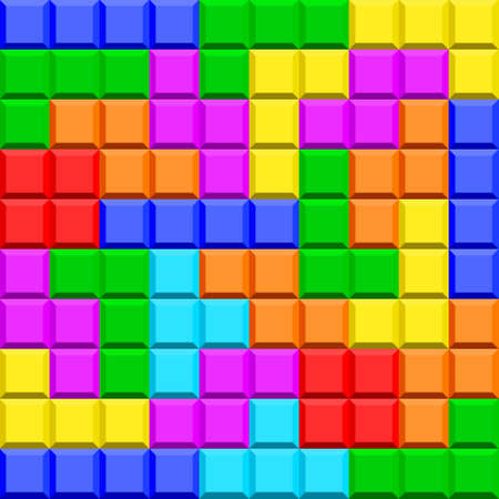 Seamless pattern of the tetris game elements Illustration