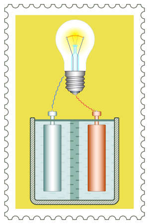electrolytic: Illustration of the galvanic element and electric light bulb on postage stamp