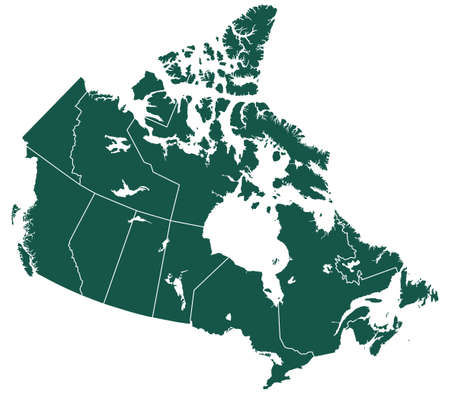 Silhouette provinces map of the Canada. All objects are independent and fully editable. Source of map:  http:www.lib.utexas.edumapsamericasnorth_america_pol_2012.pdf http:www.lib.utexas.edumapsamericascanada_pol99.jpg