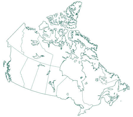Contour map of the Canada. All objects are independent and fully editable. Source of map:  http:www.lib.utexas.edumapsamericasnorth_america_pol_2012.pdf http:www.lib.utexas.edumapsamericascanada_pol99.jpg Illustration