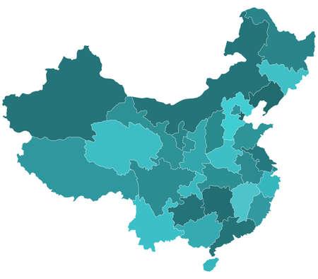 mapa de china: Silueta mapa frontera de las regiones de China. Todos los objetos son independientes y completamente editable. Fuente del mapa: http:www.lib.utexas.edumapsmiddle_east_and_asiachina_pol01.jpg