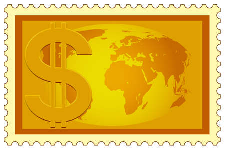 profusion: Concept illustration of the US Dollar symbol and Globe on postage stamp.  Illustration