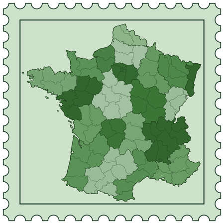 fully editable: Silhouette map of the France on postage stamp. All objects are independent and fully editable. Source of map: http:www.lib.utexas.edumapseuropefrance_admin91.jpg