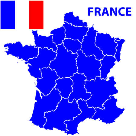 terrestrial: Terrestrial silhouette map of the France and flag. All objects are independent and fully editable. Source of map: http:www.lib.utexas.edumapseuropefrance_admin91.jpg